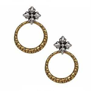 Patricia Nash Floret Charm Hoop Drop Earrings